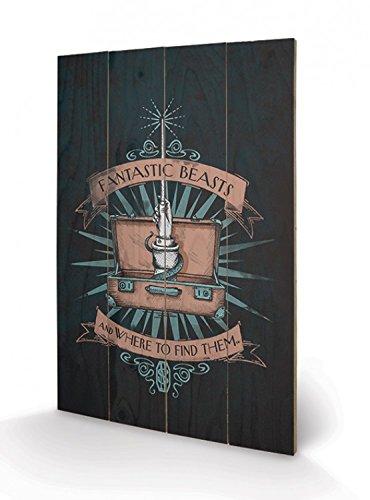 Preisvergleich Produktbild 1art1 101443 Phantastische Tierwesen Und Wo Sie Zu Finden Sind - Magischer Koffer Poster Auf Holz 60 x 40 cm