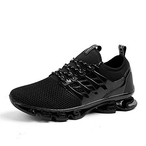 WateLves Herren Laufschuhe Fitness straßenlaufschuhe Sneaker Sportschuhe atmungsaktiv rutschfeste Mode Freizeitschuhe (Schwarz,43)
