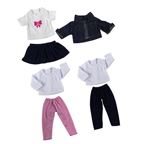 MagiDeal 3 Sets Puppen Kleidung Anzug - T-Shirt, Hosen, Mantel, Rock - Puppe Outfit für 18'' American Girl Puppen Zubehör (Doll Dress Up Kostüm)