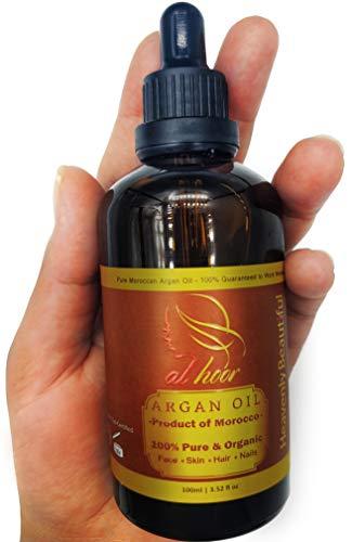Neues 100% reines Bio-Arganöl 100ml - Kaltgepresstes Premium-Kosmetiköl Marokkanisches Öl für Gesichtshaut Haarnägel - Nicht-fettig Schnell absorbierend - alle In einer Behandlung für Anti-Aging Anti-Falten-Aknenarben Dehnungsstreifen Nagelhaut Spliss krauses Haar trockene Kopfhaut Schuppen und mehr - Ecocert-zertifiziert (In Anti-aging-behandlung One All)