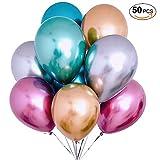 VOONEEN Luftballons 50 Stück Metallic-Farbe Ballons 12 Inch Latex Balloons Für für Hochzeiten, Geburtstag Party Dekorationen,Graduierung,Geburtstage, Baby-Duschen, Valentinstag