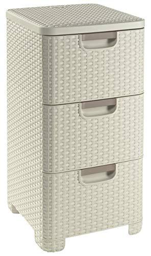 CURVER Style Schubladenturm, Kunststoff, Creme, 3x14L