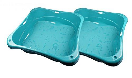 Sandkasten 2er-Set Planschbecken Buddelkasten Pool Sandbox Sandkiste Kunststoff, Farbe:türkis (Planschbecken Kunststoff)