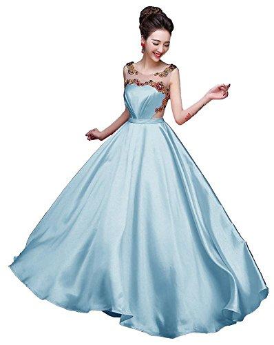 Beauty-Emily -  Vestito  - linea ad a - Senza maniche  - Donna Blu chiaro