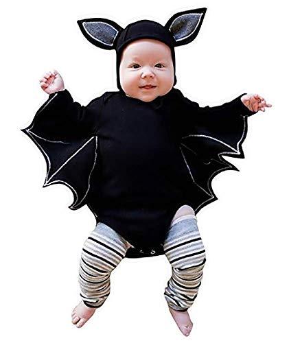 Lovelegis (6-9 Mesi) Costume Travestimento Halloween Carnevale Cosplay - Body da Pipistrello + Cappellino con Orecchie per Bambino Neonato Bebè Baby Bimbo