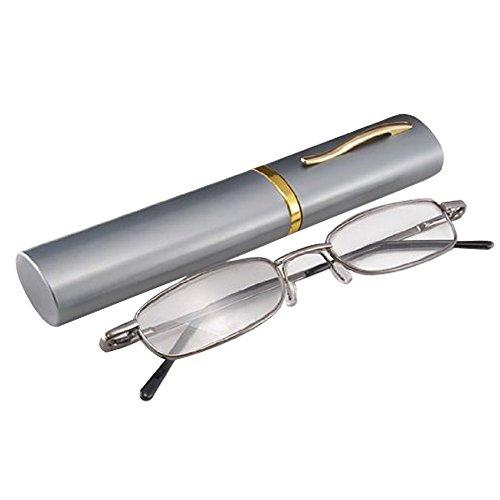 Preisvergleich Produktbild THG Gent Brillen Gunmetal Rahmen Lesebrille Brille Brillen Reader 1, 50 Dioptrienlupe Taschenclip Tragetasche Outdoor-Pflege