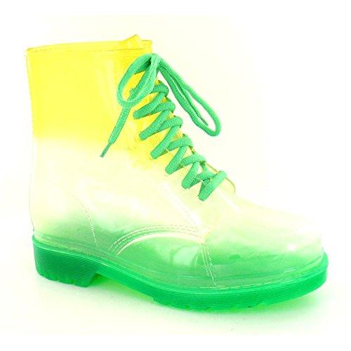 Spot On - Bottes de pluie transparentes - Enfant Orange/Vert
