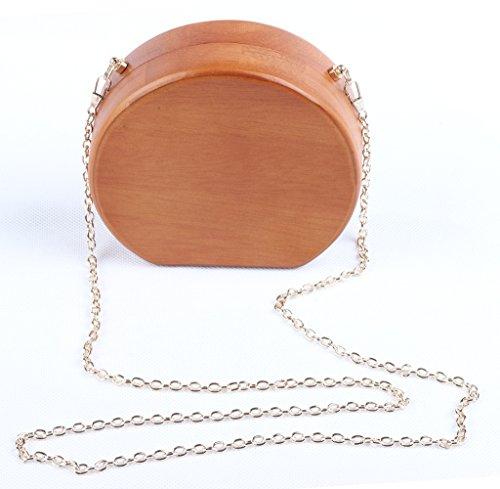 Good Night delle donne di legno della frizione borsa sera borse Cross Body Bag # 5B