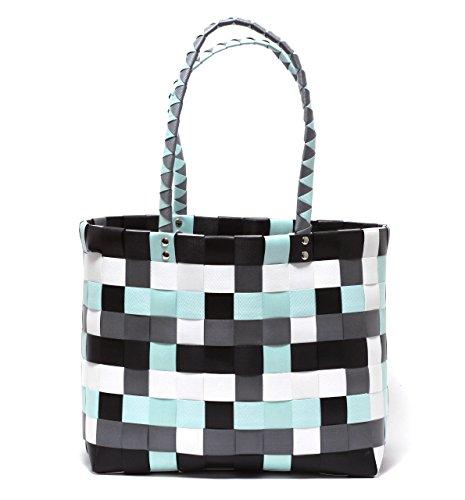 Zapato XXL Big Bag Shopper Tasche Korbtasche Flechtkorb Flechttasche Henkeltasche Strandtasche geflochten knautschfähig robust abwaschbar bunt Mint & GRAU