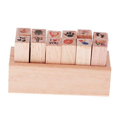 MagiDeal 12pcs / Set Motivstempel Stempel Gummi Holz Gummistempel Stempelset - Farbe2