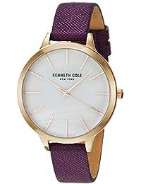 Kenneth Cole Correa de cuero púrpura de la mujer madre de la perla dial KC15056002