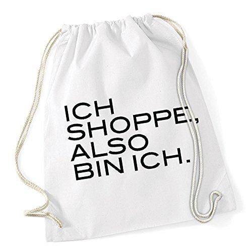 Ich Shoppe Also Bin Ich Gymsack White Certified Freak (Barcelona Gym Sack)