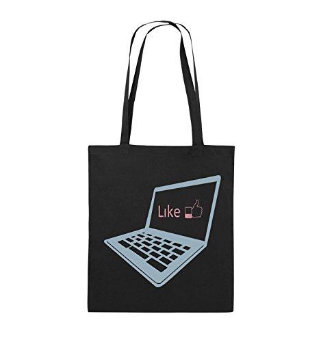Borse Comiche - Mi Piace Il Laptop - Borsa In Juta - Manico Lungo - 38x42cm - Colore: Nero / Bianco-verde Neon Nero / Blu Ghiaccio-rosa