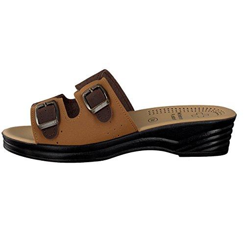 Brandsseller Damen Pantolette Sandale mit Zwei Schnallen und Einem Wörishofer Fussbett - Farbe: Blau/Grau - Größe: 41 uSRM00