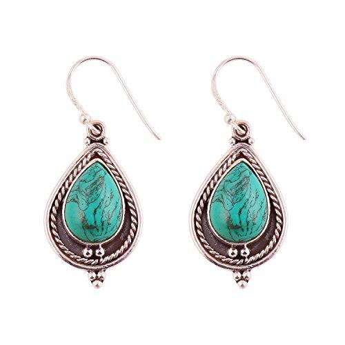 Neerupam collection 925 orecchini in argento sterling, fatti a mano, designer, borchiato con pietre preziose naturali turchese per donna e ragazza