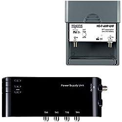 HD-LINE kit4/1 Préamplificateur 4/1 TV Amplificateur + Alimentation 4 Sorties TV pour Antenne terrestre TNT Noir