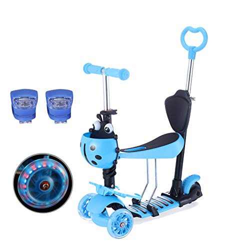Yorbay Kleinkinder Kinder Scooter Roller 3-in-1 3 Räder Mini Kinderscooter Kinderroller Kinder Tretroller mit Abnehmbarem Sitz Leuchtrollen und Verstellbare Lenker für Jungen Mädchen ab 1 Jahre Blau
