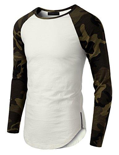 HEMOON Herren Langarmshirt Contrast Baseball Classics Rundhals Camouflage XL (Raglan-baseball-jersey)