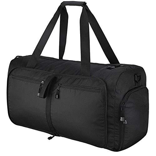OMORC Borsone Palestro Borsone da Viaggio Borsa Sportiva 60L Duffel Bag di Nylon Impermeabile Pighevole per Gym Viaggio Vacanza Airport per Donna e Uomo, Nero