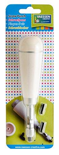 Vaessen Creative Schraublocher, 3 Spitzen, Metal, Plastic, White, 15.4 x 4.5 x 3.2 cm