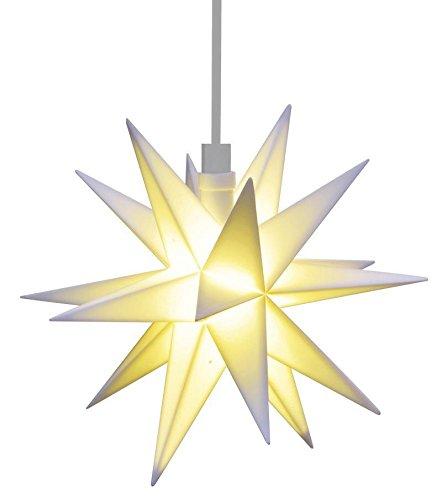 3D LED STERN weiß Ø 12 cm Weihnachtsstern Ministern Außen Stern Fenster Deko wetterfest für außen und innen 5m Kabel von Dekowelt (Weiß)