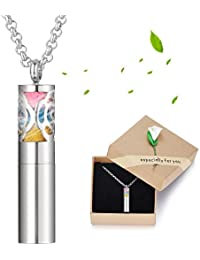 Vocheng Aromatherapy Diffuser Necklace Stainless Steel Perfume Bottle Essential Oil Diffuser Pendant Locket Necklace with 24 Pads Jewelry for Women Girls: B