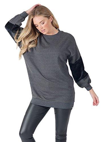 Momo&Ayat Fashions -  Felpa  - Donna Fur Sleeve-Charcoal