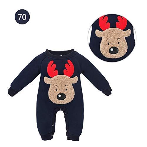 Baby Strampler Jungen Mädchen Weihnachten Kostüm für Baby Neugeborene Einteiler Langarm Elch Jumpsuit im Herbst und Winter, Blau