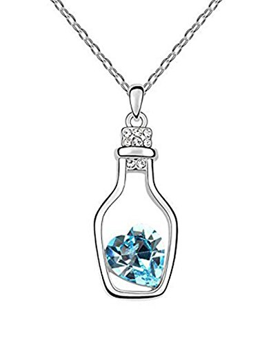 Karatcart Platinum Plated Elegant Austrian Blue Heart Shaped Crystal Pendant For Women