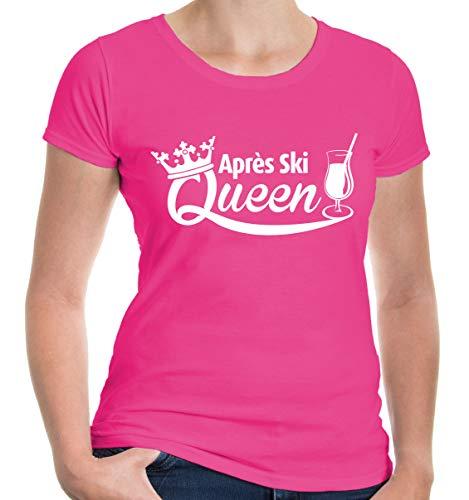 buXsbaum® Damen Girlie Kurzarm T-Shirt bedruckt Apres Ski Queen | Hüttenzauber Piste Glühwein | L fuchsia-white Rosa