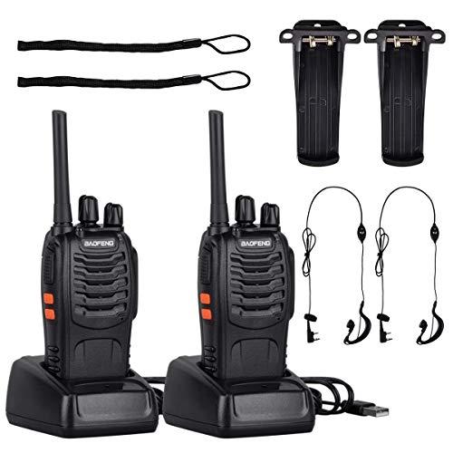 Tyhbelle 2x baofeng Funkgeräte Set, Lizenzfrei PMR446 Aufladbare Walkie Talkies mit Headset und Akkus,16 Kanäle Handfunkgerät mit USB Anschluß LED-Taschenlampe Sprechfunkgerät (2 x Funkgeräte)