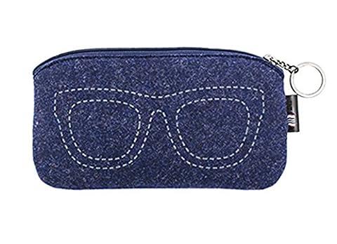iSuperb® Brillenetui Sonnenbrillen Modern Brille Sonnenbrille schutzbrillen Lagerung Tasche Filz Tragetasche mit Reißverschluss (Dunkelblau)