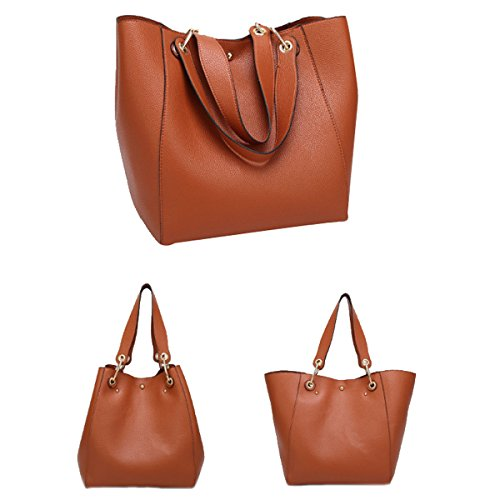 Signore PU Shopping Tote Bag Multi-color Brown