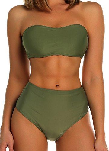 FITTOO Damen Push Up Hohe Taille Bauchweg Gepolsterter Bandeau Bikini-Set Grün M