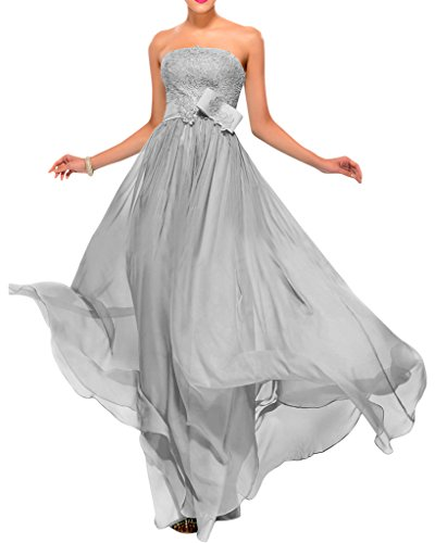 Sunvary Damen Neu Spitze Bodenlang Traegerlos Chiffon Band Abendmode Partykleid Abendkleider Silver