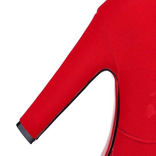 VogueZone009 Donna Tacco Alto Puro Punta Tonda Cerniera Stivali con Ornamento Di Metallo Rosso