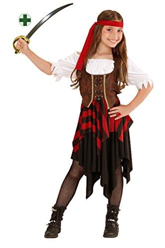 Karneval-Klamotten Piraten-Kostüm Piratin Kinder Mädchen Piratenbraut Kinderkostüm schwarz-rot-weiß-braun inkl. Piraten-Säbel Größe ()