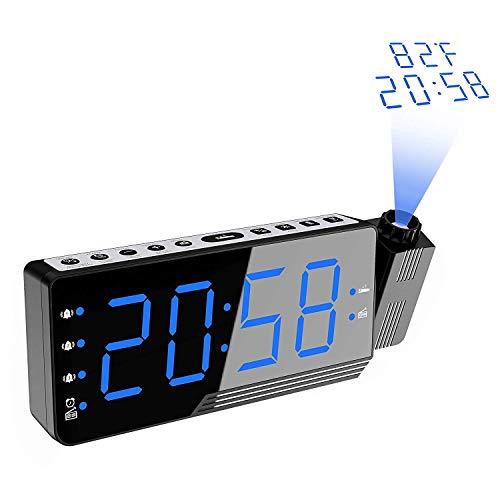 Proyección Reloj Despertador con Indicador de Temperatura, Reloj Despertador Radio Despertador USB Puerto de Carga con función de repetición regulador Gran Pantalla, Snooze, Temperatura 12/24 Hora