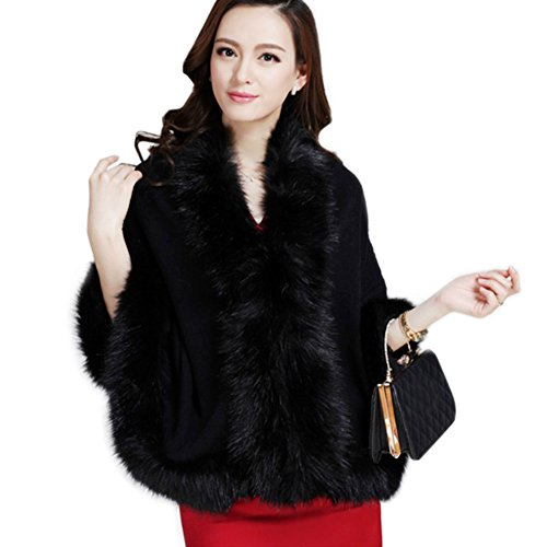 ZAKASA Damen/Frauen Faux Pelz Trim Bat Strickjacke Cape Poncho Umhang Schal Coat Luxus Braut Wraps Pullover Cape - Faux Fur Trim Jacke