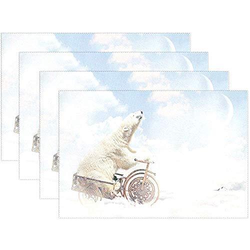 Hipster Eisbär Himmel Clud Tischset Tischset, Polyester Tischset für Küche Esszimmer 6er Set für Kinder, 45X30 cm [18x12 Zoll]