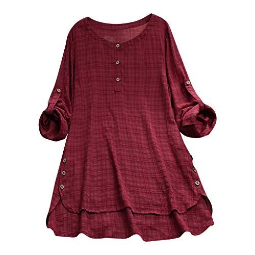 Likecrazy Bluse Damen Langarmshirt Elegant Lose Leinenbluse Casual Shirt Bluse Tops Womens Plus Size Plaid Button Oberteile Tunika