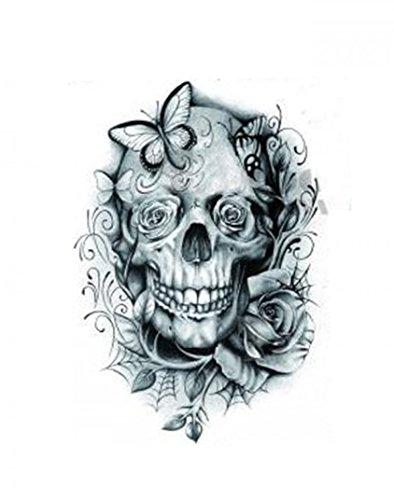 Wasserdicht und nicht toxisch Halloween Tattoo Schädelkopf mit Rosen und Schmetterlingen gefälschte temporäre Tätowierung-Aufkleber