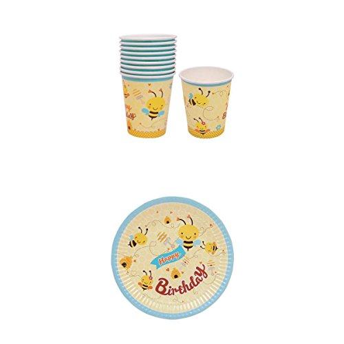 Happy Birthday Einweg-Party-Set mit 10 Pappteller und 10 Pappbecher für Kindergeburtstag Party, Biene Muster