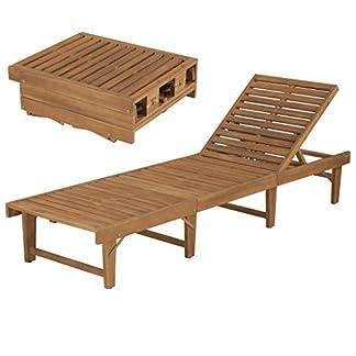 mewmewcat Tumbona Plegable de Jardín Tumbona de Exterior,Respaldo Durabilidad y Practicidad Madera Maciza de Acacia 200x61x30/86cm