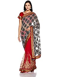 Womanista Women's Embroidered Net Saree With Blouse Piece