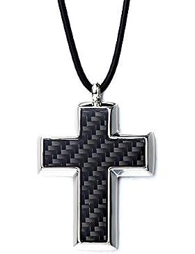 Edelstahl Herren Kreuz Anhänger Halskette mit Carbon-Einsätze und Schwarz Schnur 58CM