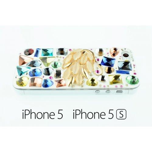 OBiDi - La main de Rhinestone de Diamant Housse / Housse pour Apple iPhone SE / Apple iPhone 5S / 5 - Swan avec 3 Film de Protection et Stylet Swan