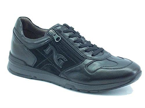 Scarpe sportive NeroGiardini per uomo in pelle nera, Caracas Nero, 44