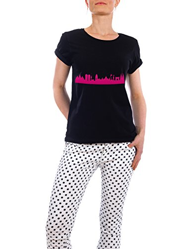 "Design T-Shirt Frauen Earth Positive ""Barcelona04 Skyline Pink Print monochrome"" - stylisches Shirt Abstrakt Städte Städte / Barcelona Architektur von 44spaces Schwarz"