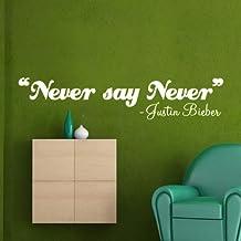 Adhesivo decorativo para pared–Never Say Never, Justin Bieber, decoración de la pared, cita, transferencia, dormitorio (1L), negro, L - 120 cm x 40 cm